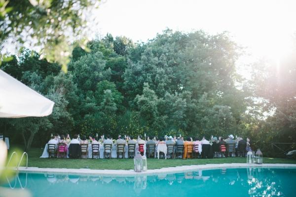 Outdoor Poolside Italian Reception Venue