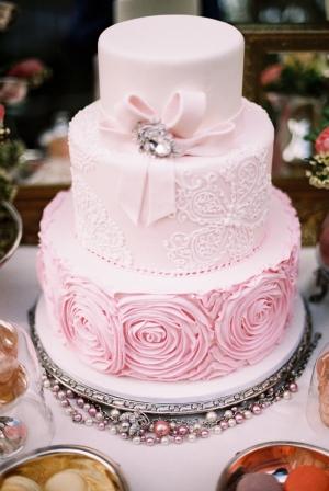 Pale Pink Wedding Cake