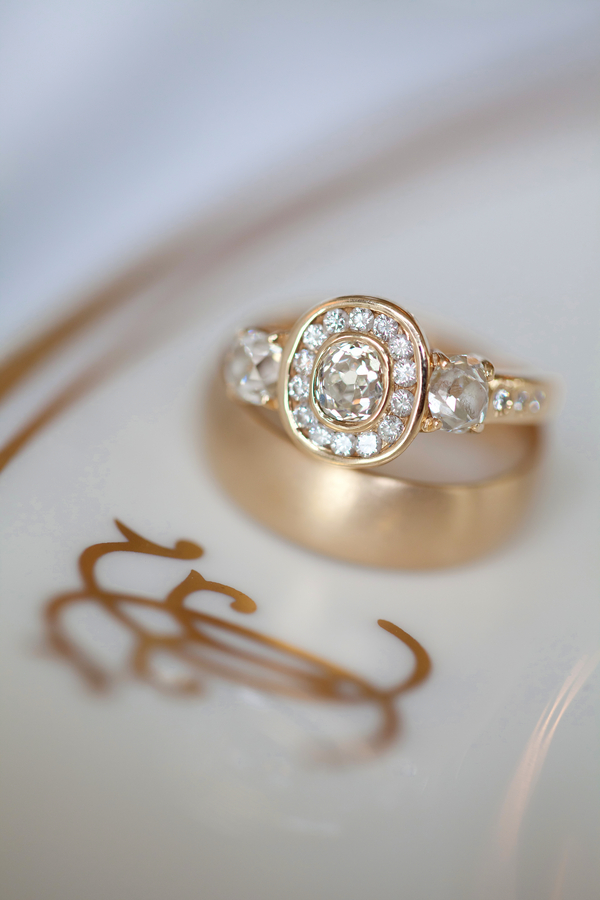 Pave Diamond Heirloom Engagement Ring