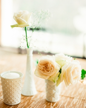 Peach Rose and Milk Glass Reception Decor