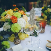 Peach Yellow and Green Floral Arrangements