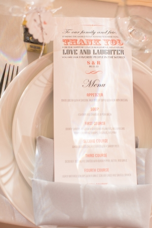 Peach and Gray Reception Menu