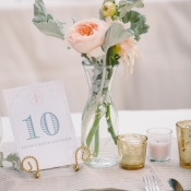 Peach and Gray Table Number Card