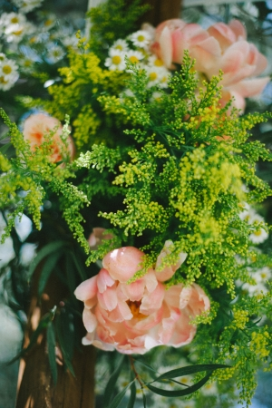 Peach and Green Floral Wedding Decor