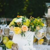 Peach and Yellow Floral Reception Decor