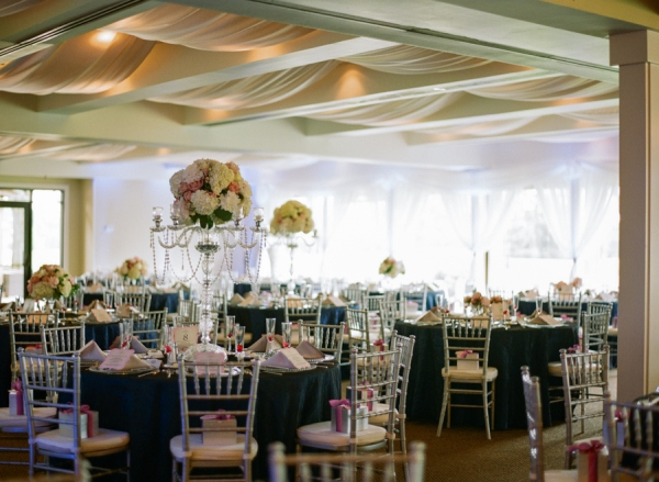 Pink Blue and Silver Reception Decor
