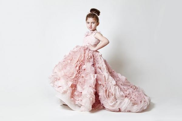 Pink Flower Girl Dress by Krikor Jobatian