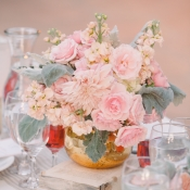 Pink Flowers and Dusty Miller in Gold Vase