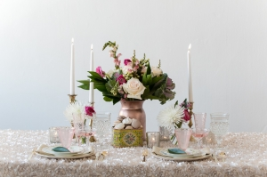 Pink Glassware and Floral China Reception Ideas