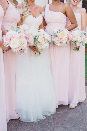 Pink One Shoulder Bridesmaids Dresses