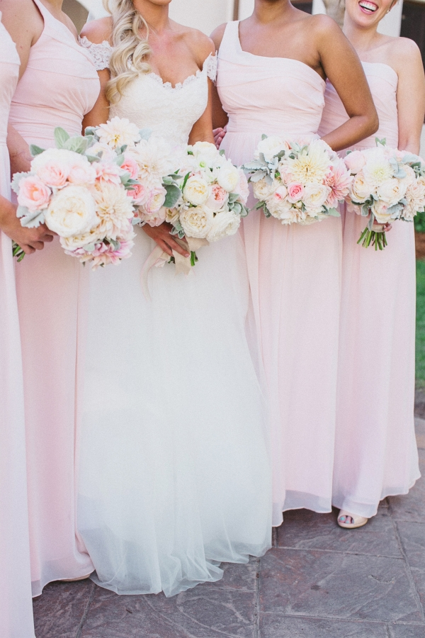 Pink One Shoulder Bridesmaids Dresses