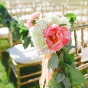 Pink and Cream Flower Garland Chair Decor