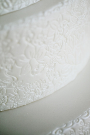 Pressed Floral Design on Wedding Cake