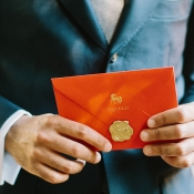 Red Envelope With Gold Wax Seal
