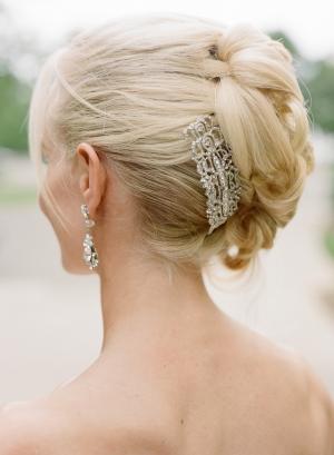 Rhinestone Pin in Bridal Hair