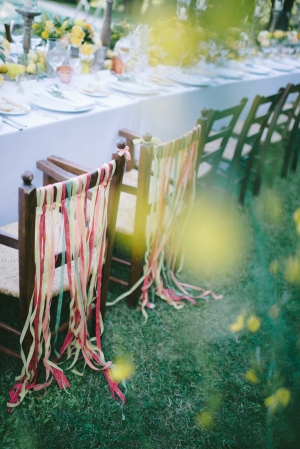 Ribbon Streamers on Chair Backs