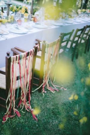 Ribbon Streamers on Chair Backs
