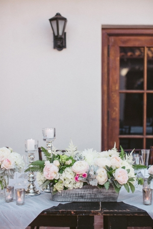 Romantic Ivory and Pink Centerpiece