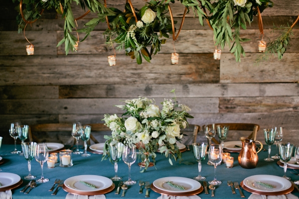 Rustic Copper Accents Reception Decor