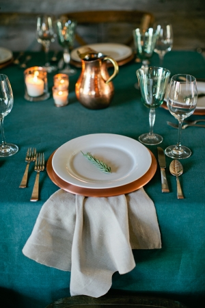 Rustic Teal and Copper Table Setting