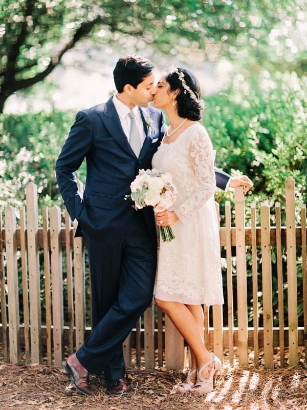 Short Bridal Dress With Sheer Lace Sleeves