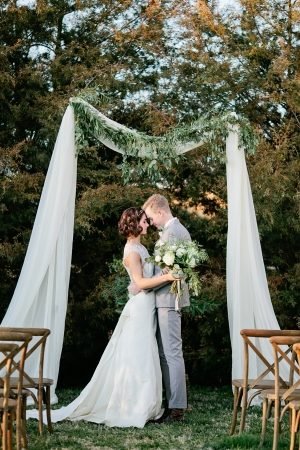 Simple Wedding Arbor With Greenery
