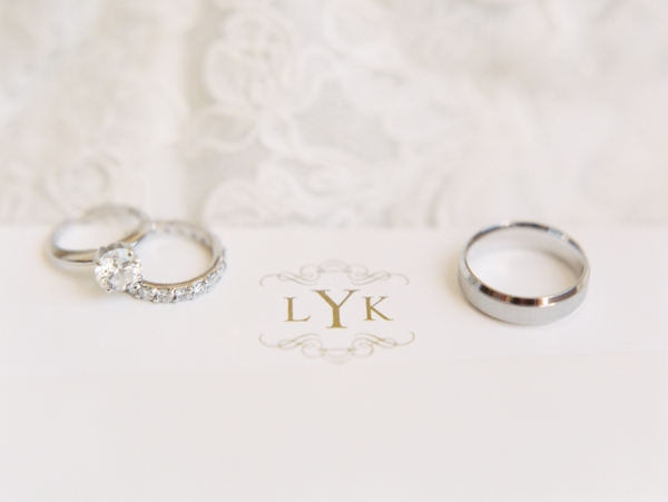 Solitaire Diamond Ring and Platinum Wedding Bands