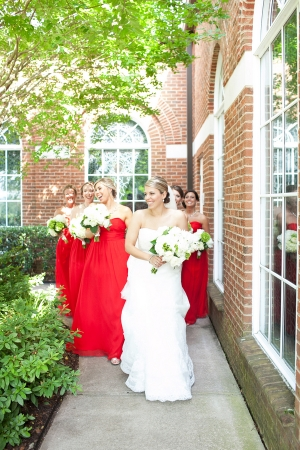 Strapless Red Bridesmaids Dresses
