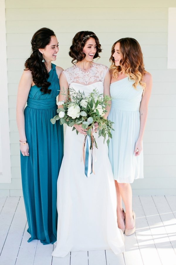 Teal and Baby Blue Bridesmaids Dresses
