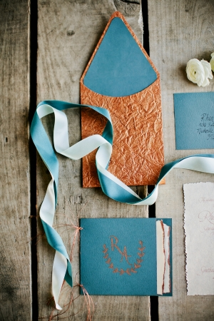 Turquoise and Copper Wedding Invitations