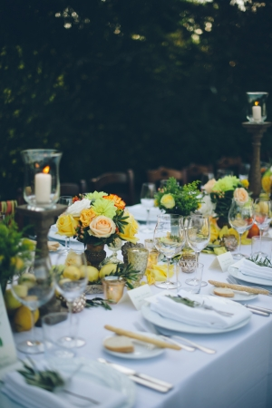 Tuscan Style Reception Table Italian Destination Wedding