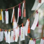 Watercolor Place Cards on Tassels