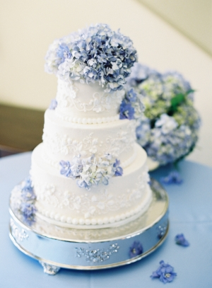 Wedding Cake With Blue Hydrangeas