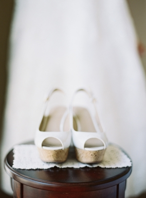 White Cork Wedges Bridal Shoes