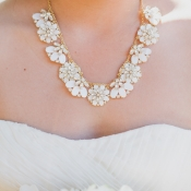 White Flower Necklace on Gold Chain