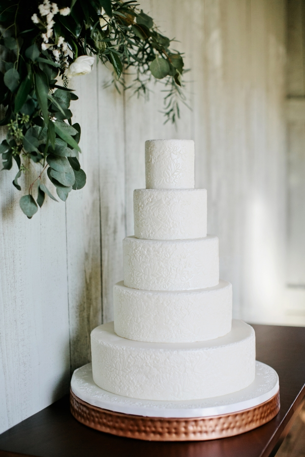 White Wedding Cake With Pressed Floral Design