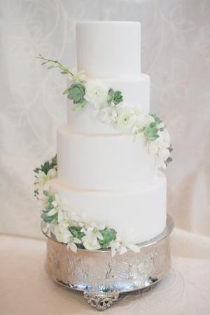 White Wedding Cake with Flower Garland