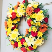 Yellow and Orange Fall Floral Wreath