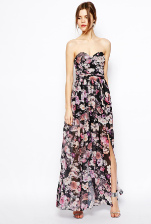 ASOS Bandeau Maxi Floral Dress With Contrast Waist