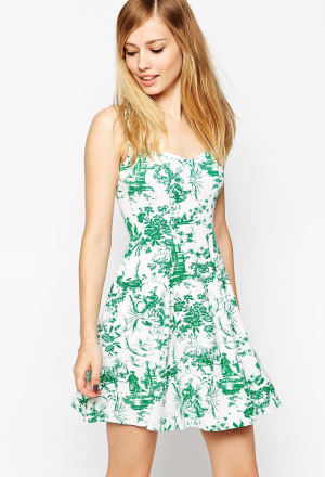 ASOS Sweetheart Skater Dress In Toile De Jour Print