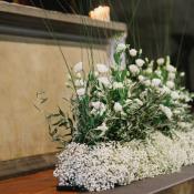 Babys Breath and Rose Altar Arrangement