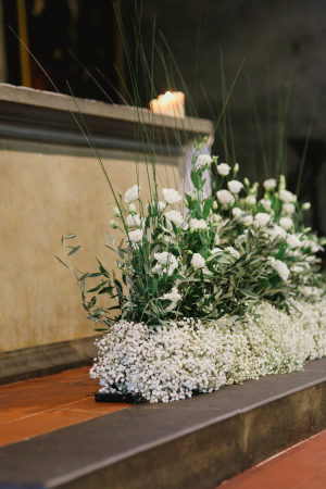 Babys Breath and Rose Altar Arrangement