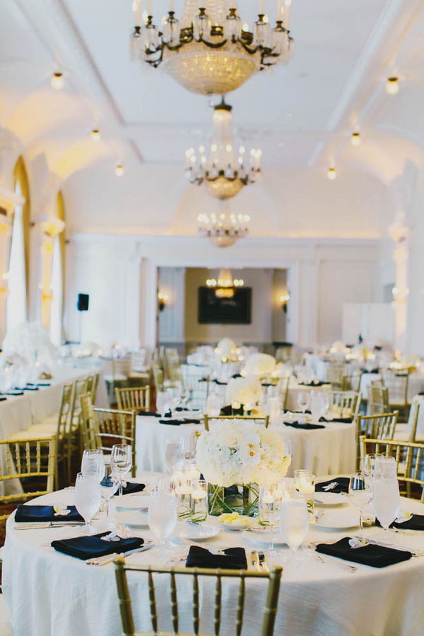 Black Gold and White Reception Decor