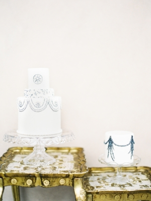 Blue and Silver Wedding Cakes