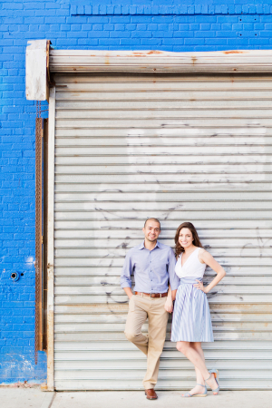 Blue and White Attire for Engagement Photos