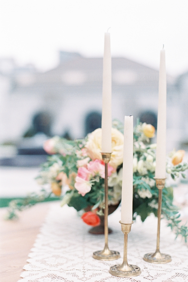 Brass Candlesticks Reception Decor