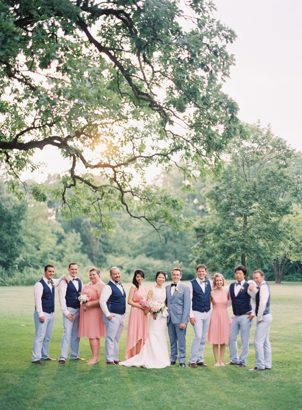 Bridal Party in Pink and Blue