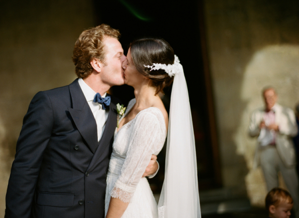 Bride and Groom Kissing Italian Wedding Ceremony
