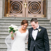 Bride and Groom Leaving Temple