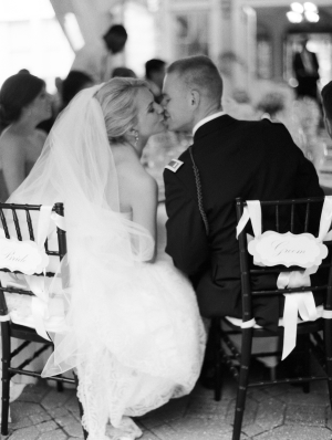 Bride and Groom Reception Kiss